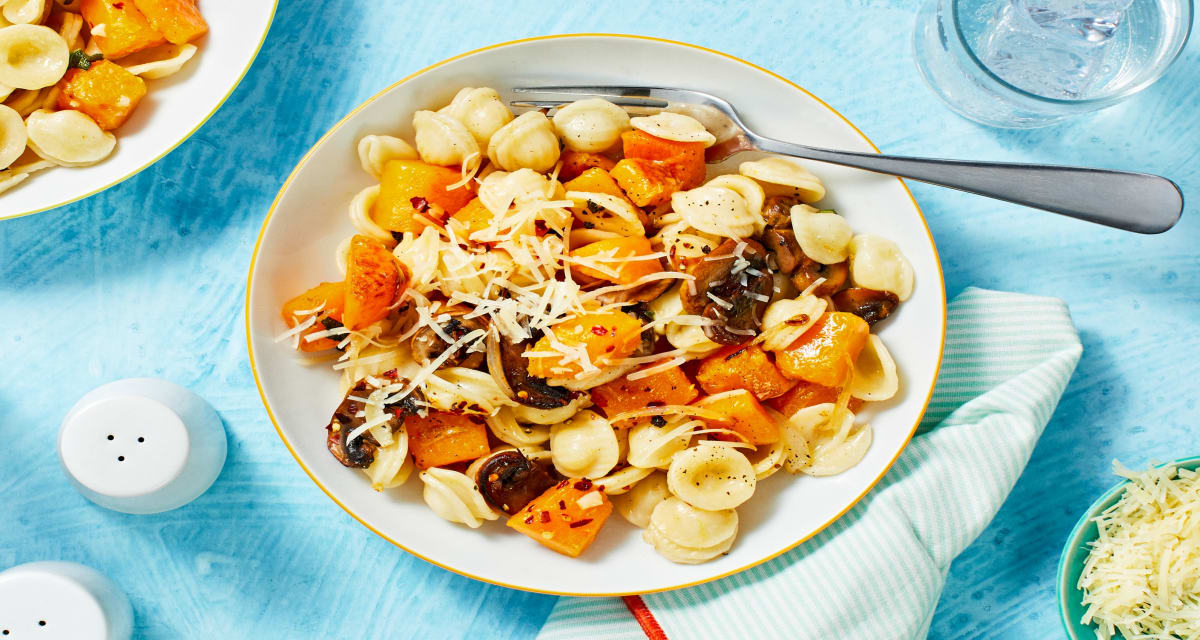 Butternut Squash and Sage Orechiette with Button Mushrooms and Parmesan