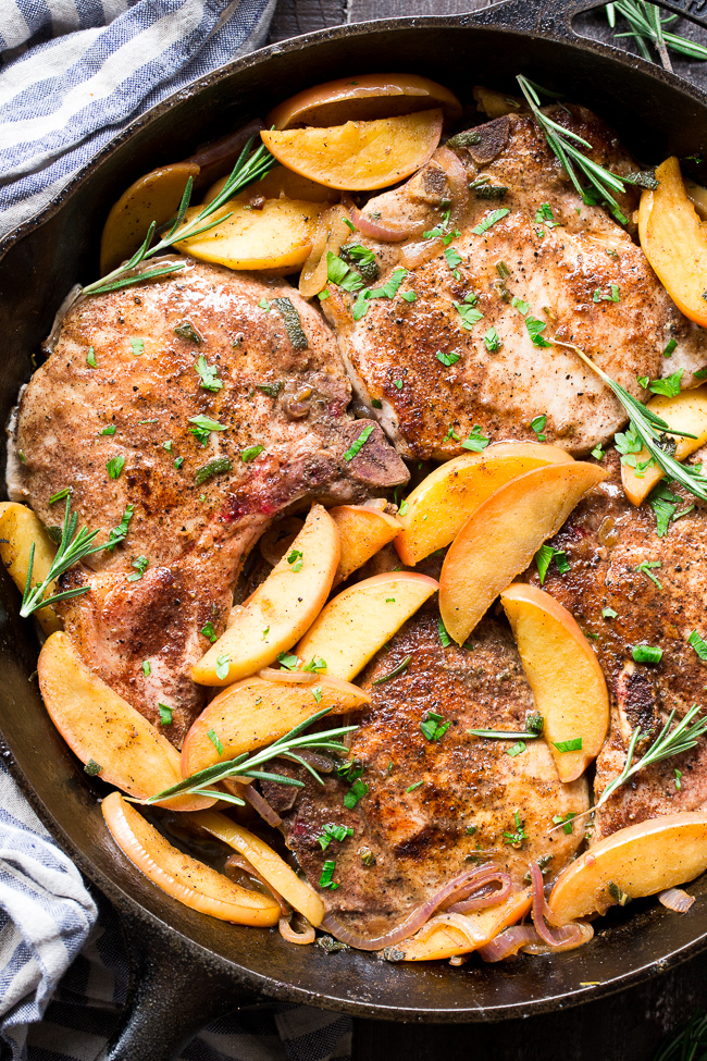 One-Skillet Pork Chops with Apples {Paleo, Whole30}