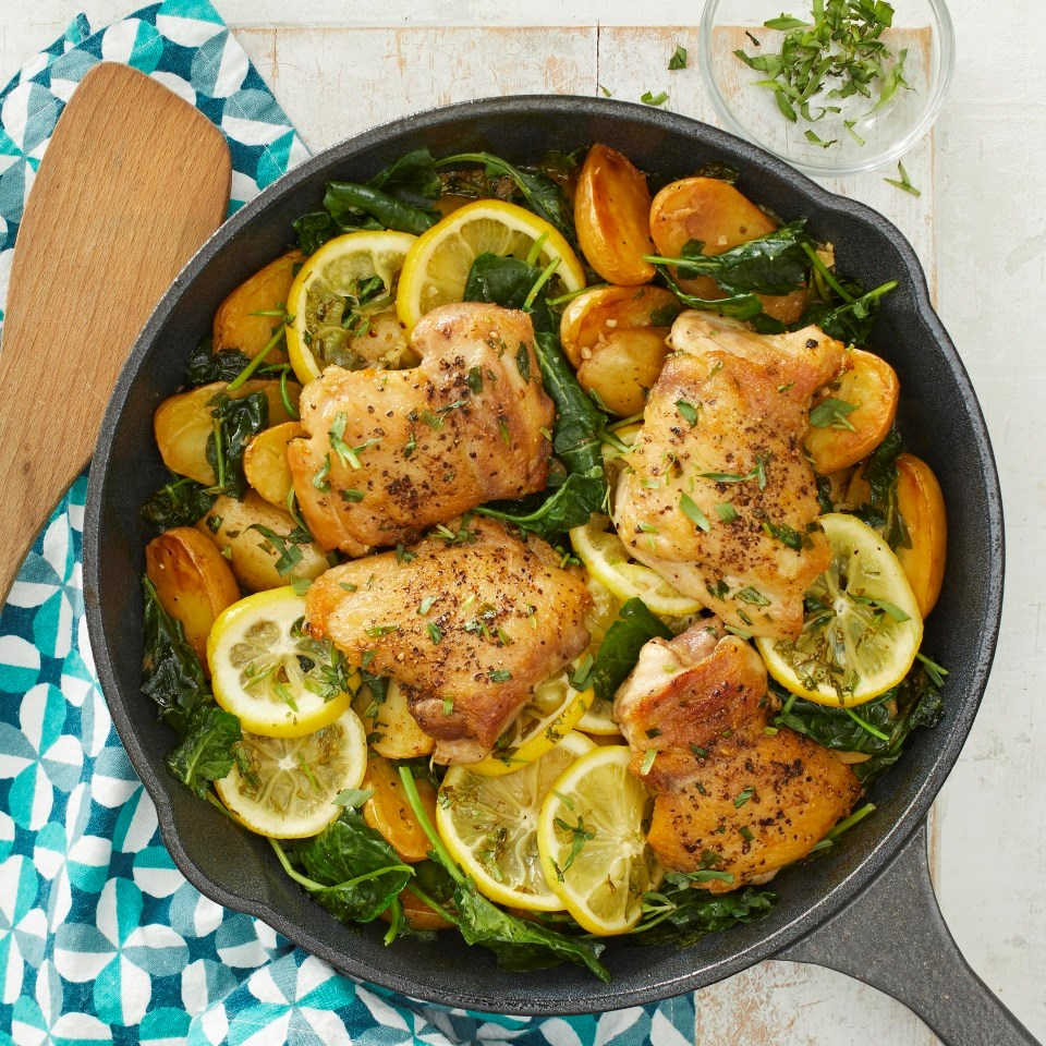 Skillet Lemon Chicken & Potatoes with Kale